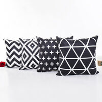 "18"" Vintage Black & White Geometric Patterns Sofa Throw Cushion Cover Pillowcase"