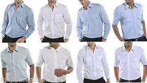 Men's Polycotton Smart Work Shirt Plain Office Business Stiffened Collar Formal