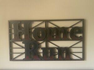 "Pottery Barn Teen Metal Wall Hanging ""HOME RUN"" 36"" X 20"""