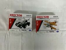 Lot of 2 Erector by Meccano Bolts Car and Airplane