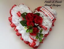Artificial Silk Flower Heart Funeral Wreath Grave Tribute  Memorial BROTHER