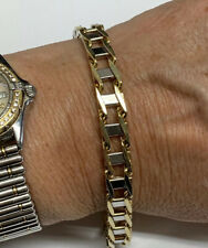10k Mens Two Tone Solid Gold Bracelet
