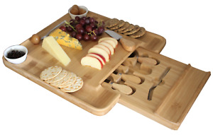 Wooden Cheese Board Square Natural Bamboo with Slide Out Draw & 4 Knives