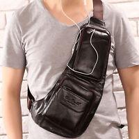 Men Sling Chest Bag Vintage Leather Travel Hiking Messenger Shoulder Pack Pouch