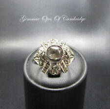 12ct White Gold Vintage Deco Diamond Cluster Ring Size O 4.8g 0.7ct diamonds