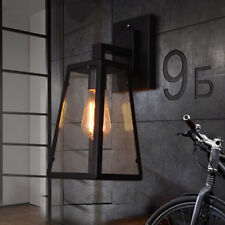 Industrial Outdoor Lighting Fixture Lantern Wall Light Brushed Black Wall Sconce
