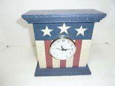 Red White & Blue Americana Wooden Clock For Desk Or Shelf