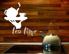 Tea Time Quote with Teapot  - highest quality wall decal stickers