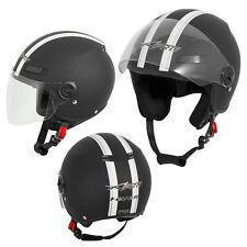 Open Face Jet Helmet Lid Motorbike Scooter Quad Visor Matt Black  A-PRO