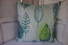 Spearmint Lime Sea Green & White Leaves Cushion Cover 45cmn