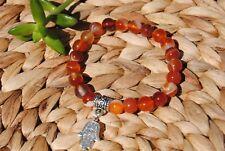 Carnelian Bracelet + Hamsa Hand Charm ~ Natural Gemstone Beads ~ Chakra Healing
