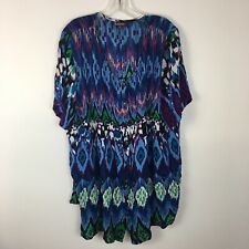 Roaman's Women's Bright Abstract Blue Short Sleeve Button Front Shirt Size 20W