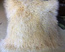Genuine Mongolian Lamb Fur Square Pillow Cushion Light Beige with Snow top16x16
