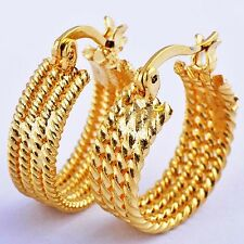 24K Solid yellow Gold plated Huggie Multi-Wire Hoop Earrings Free Shipping