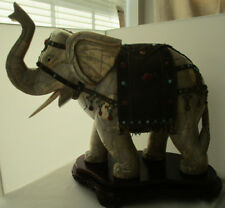 LARGE BONE - METAL - JEWELS INDIAN ELEPHANT SCULPTURE ON WOOD BASE