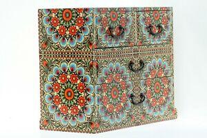 Wood handmade Chest of 4 drawers Mandala Moroccan desings Blue