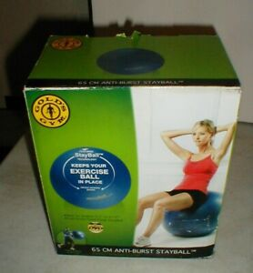 NEW Gold's Gym 65cm Anti-Burst Stayball Blue Exercise Ball with Pump-DVD in Box