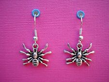 FUNKY SILVER SPIDER EARRINGS GOTH EMO CUTE INSECT COOL BUG HALLOWEEN EMO NOVELTY