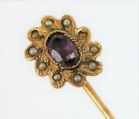 ANTIQUE BEAUTIFUL 14K YELLOW GOLD STICK HAT PIN AMETHYST SEED PEARL ART DECO !