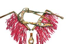 WESTERN HORSE PINK BLING HEART BLING LEATHER FRINGE BRIDLE BREAST COLLAR TACK