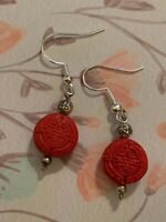 Brighton Red Wooden Circle Happiness CHINA TALE Chinese Charm Earrings