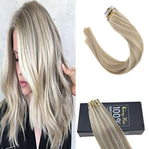 Sunny New color Tape in Human Hair Extensions  Dark Gold mix Platinum Blonde 50g