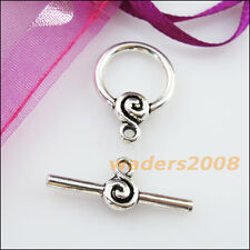 5 New Connectors Necklace Smooth Round Circle Toggle Clasps Tibetan Silver