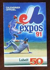 1991 MLB Montreal Expos Official Schedule / '91 Season Full Calendar