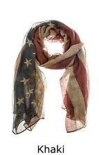Khaki Stars And Stripes Scarf  Perfect For 4th Of July   Free Shipping