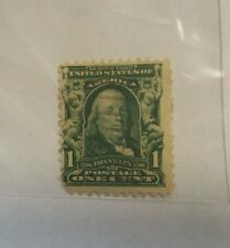 SERIES 1902 FRANKLIN FULL FRONT 1 CENT STAMP UNITED STATES OF AMERICA GREEN USED