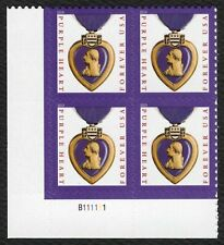 #5419 Purple Heart, Plate Block [B111111 LL], Mint ANY 4=
