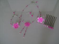 Parure bijoux rose/fuchsia Collier bracelet boucles cheveux cérémonie pas cher