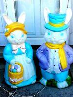 "Vintage Empire Mr & Mrs Rabbit Blow Mold Lighted Decor 33""-35""Tall NEXT DAY SHIP"