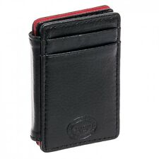 New Buxton Men's Black Leather RFID Deluxe Magic Front Pocket Card Case Wallet