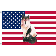 Usa Wolf Eagle Flag 5Ft X 3Ft Native American Indian Banner With 2 Eyelets