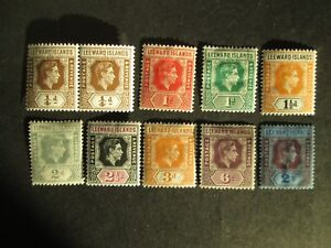 Leeward Is 1938 definitive part set Mounted  Mint with Hinge Remains