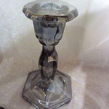 Glass Elden Candlestick Smoky silvery glass hexagon base 15.5cm high