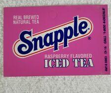 Four Snapple Raspberry Iced Tea Vending Machine Flavor Strip 3 1/2 X 2 1/4