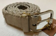 $700 Loro Piana Beige Men's Suede and Cashmere Woven Belt Size 42 Made in Italy