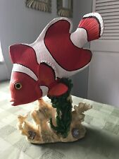 """Tropical Fish Figurine On Coral Re 00006000 efs Resin Painted 11"""" Tall Clown Fish Nemo"""