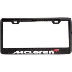 McLaren White Lettering 100% Carbon Fiber License Plate Frame