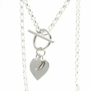 """Sterling Silver Belcher Chain with T-bar and Hearts - 41cm / 16"""" Necklace"""