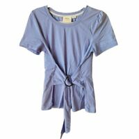Mauve Anthropologie Womens Large Short Sleeve Blue Tie Front Scoop Front Top
