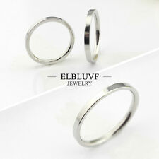 Stainless Steel Thin Band Ring Hammered Stacking Skinny Simple Knuckle Ring