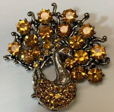 WEISS Peacock Signed Brooch Bright Yellow Iridescent Rhinestones AB Crystals