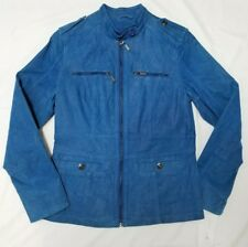 Twiggy London Womens Leather Jacket - SMALL - blue suede - military style fitted