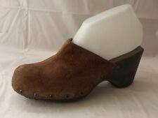 SBicca Womens 7 M High Heel Mule Brown Slip On Clog Shoe Suede Leather Split Toe