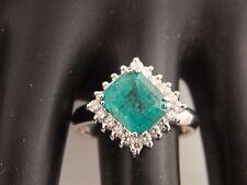 Large Emerald Halo Diamond Engagement Ring 18k White Gold 3.68 tcw D/SI Designer