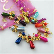 10Pcs Gold Plated Wings Dancing Mixed Angel Charms Pendants 17.5x30mm
