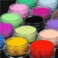 18 Multi Colours Nail Art Craft Acrylic Fine Powder Dust Pots Tips Decoration